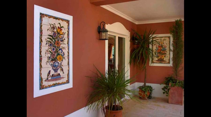 Hand painted tiles in Portugal, A feature of this Algarve villa