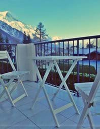 Enjoy Al Fresco dining on the large lounge balcony overlooking Mont Blanc
