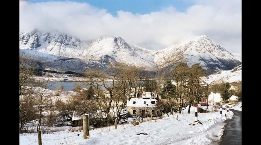 View over Loch Slapin to Blaven in Winter