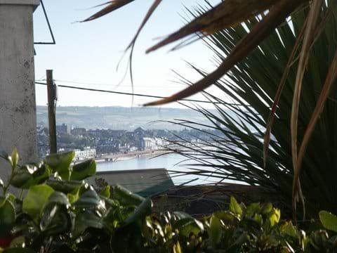 seaview from gadren towards Art-deco Lido in Penzance