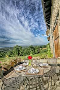 Dine on one of our terraces at ther font of the Farm house