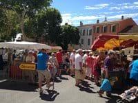 The bustling market at Lorgues