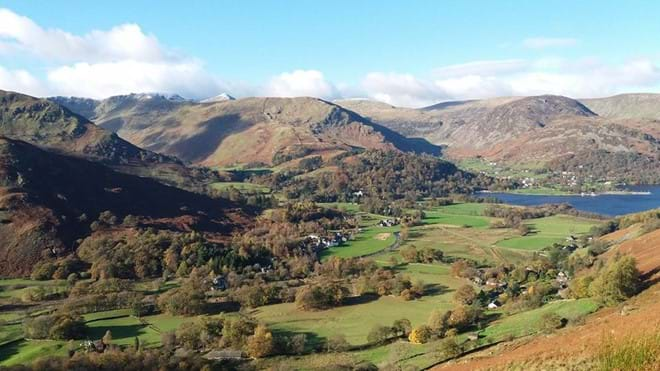 The villages of Glenridding and Patterdale from the path to Boredale Hause