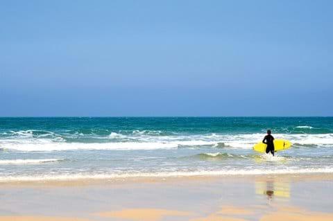 Surfing on Porthmeor Beach