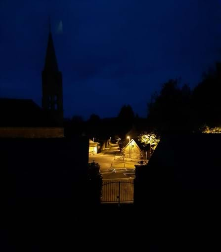 Church & village square at night