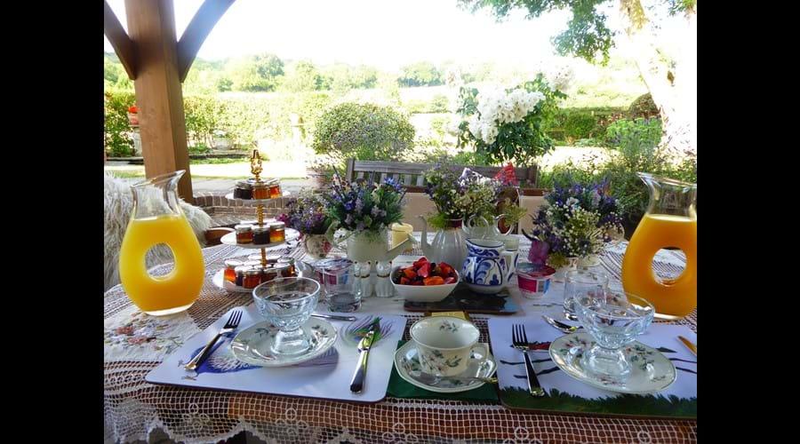 Breakfast served in the garden
