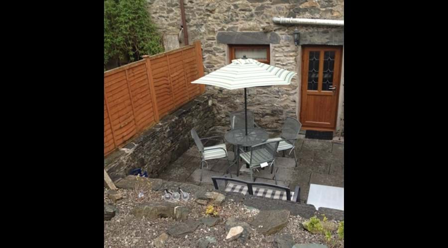 Rear Patio from Parking Area