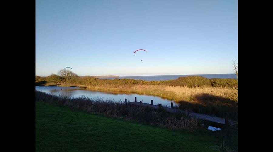 The lower lake overlooking Filey Bay.