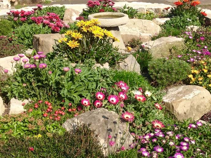 There is also a pretty rock garden at the rear, full of flowers in spring and summer