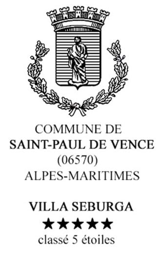 June 2017 - Villa Seburga has been upgraded from 4 to 5 Stars classification by the Mairie of Saint-Paul-de-Vence