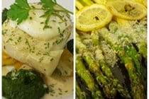 Asparagus. Poached fish with poached egg