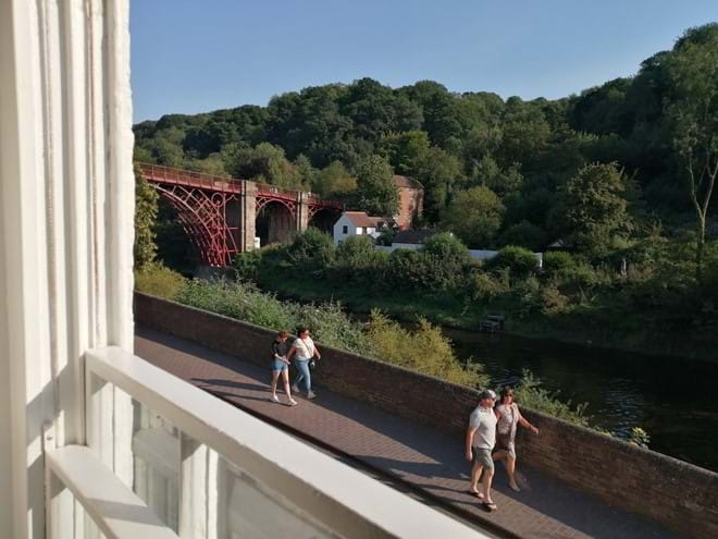 Stunning view of the Iron Bridge form the armchair in the lounge