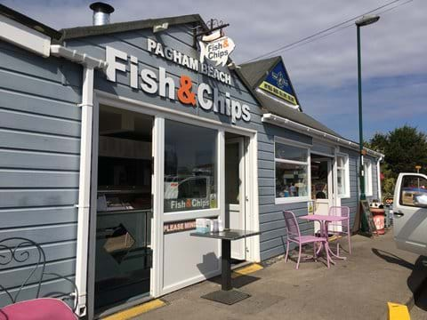 Fish & chips and cafe are one minute walk away