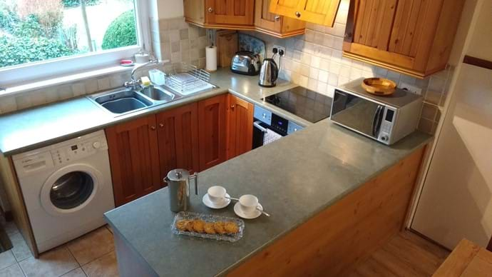 The well equipped kitchen with wonderful views