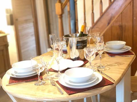 Ample glassware and dishes for a celebration or party