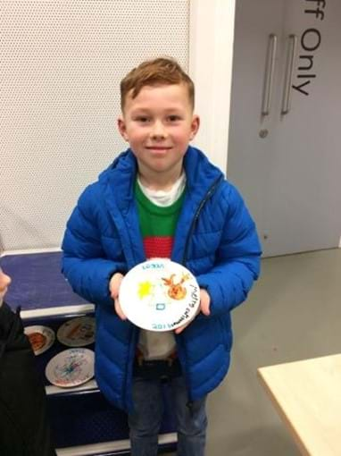 Logan and his Paint a Plate at the National Glass Centre