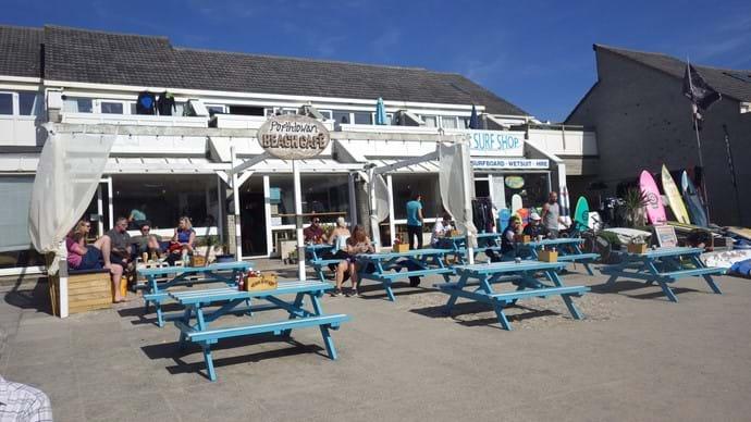 Porthtowan beach cafe does lovely lunches and cakes.