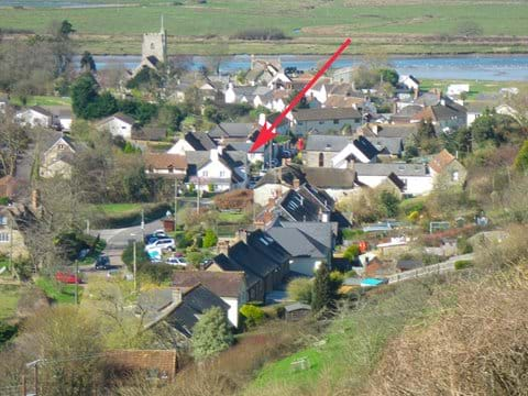 Location of Orchid Cottage (red arrow) within Axmouth village