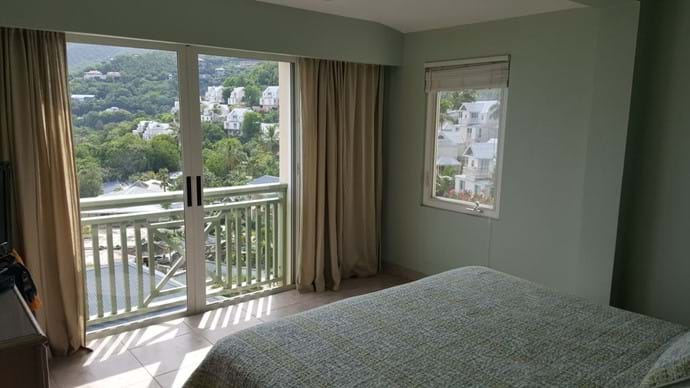 Garden Suite Bedroom views over the Long Bay Village