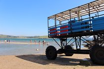 Ride the Sea Tractor at low tide at Bigbury-on-Sea