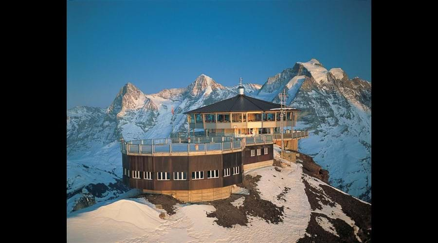 James Bond's Piz Gloria ( Schilthorn) an hour from Lauterbrunnen .