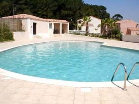 The pool area is well maintained and spotlessly clean