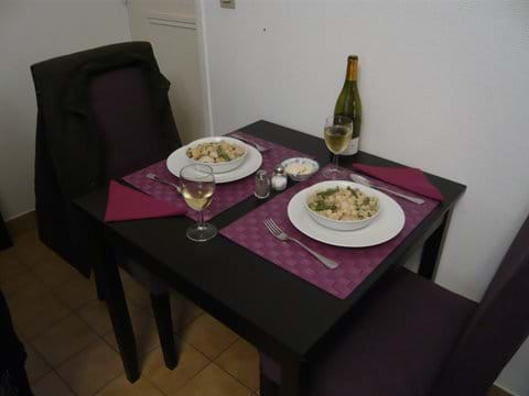 Dining table and chairs for two
