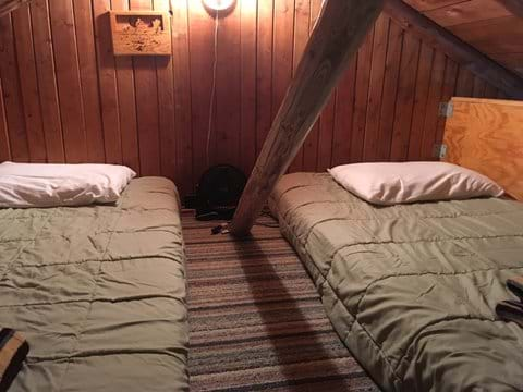 Loft area with two twin mattresses and a light.  Kids love the privacy!