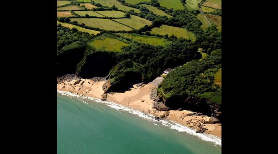 Aerial view of Waterwynch and the beautiful coastline