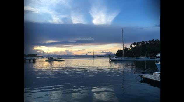 Beautiful Savusavu Bay. Photo taken from the Copra Shed Cafe.