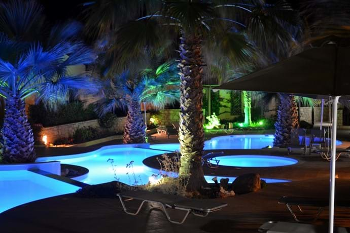 Your View of the Pool at Night from your Terrace