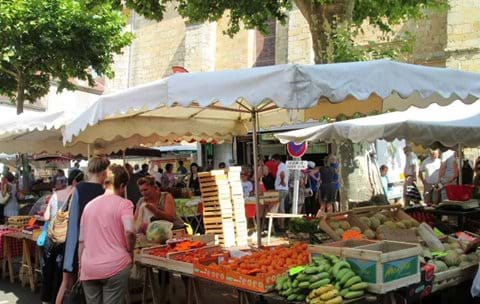 The hussle and bussle of our local market in Excideuil
