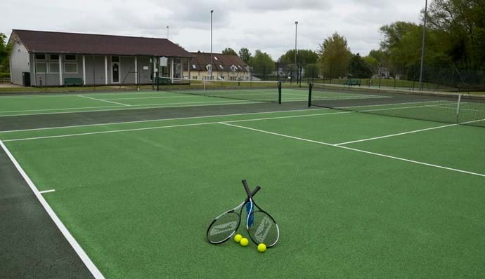Flood-lit tennis courts
