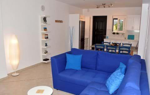 Huge Santorini-Blue Sleeper Sofa