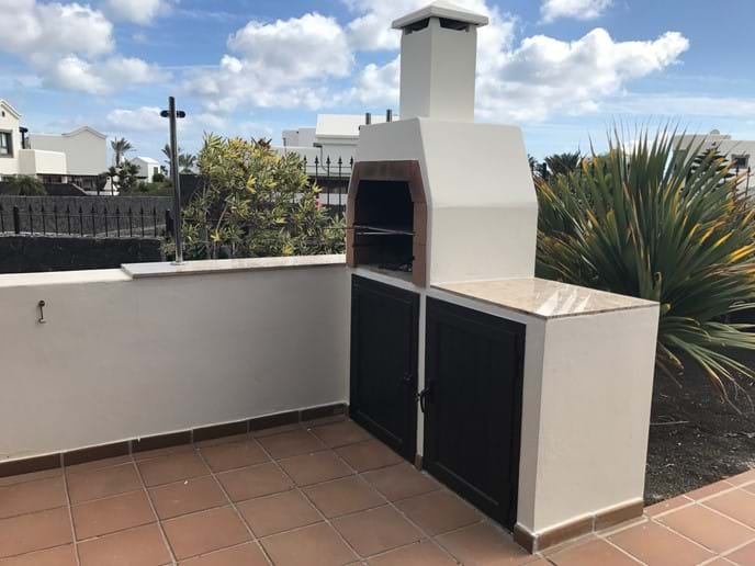 Canarian style stone and marble topped barbecue