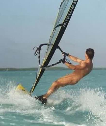 Windsurfing, a popular sport in the sea or on the lagoon