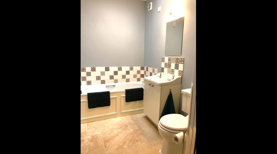 Downstairs family bathroom (shower cubicle not shown). Newly refurbished 2018.