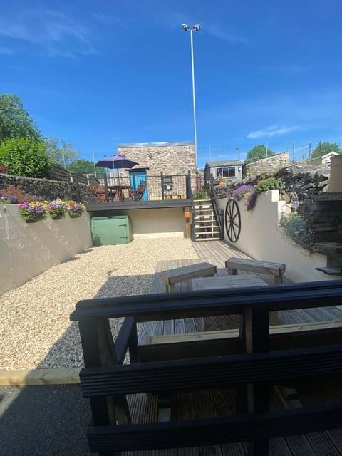Choice of two sunny outside areas, raised mezzanine or barbecue area