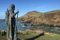 Llangrannog from the coast path, a splendid view, this chap had been enjoying for some time.