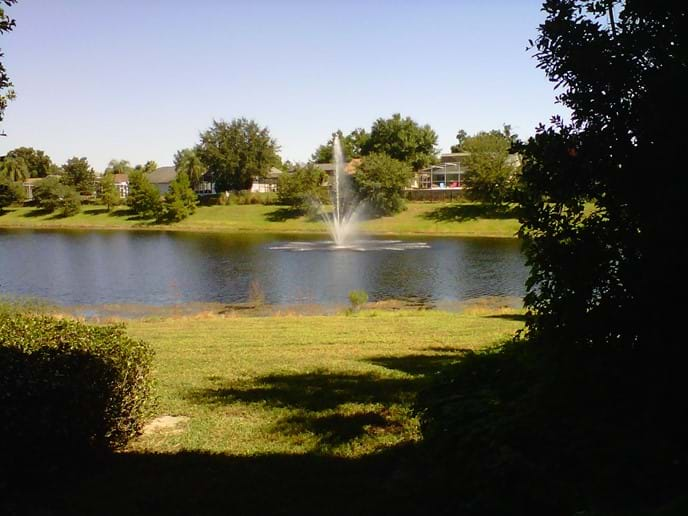 Wonderful lake and fountain view from our 2 bedroom condo