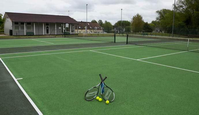 Flood-lit tennis courts