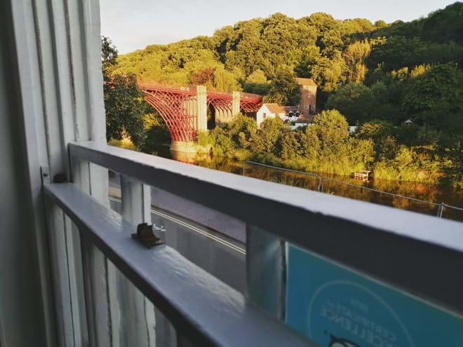 Early evening view of the Iron Bridge at Ironbridge View Townhouse
