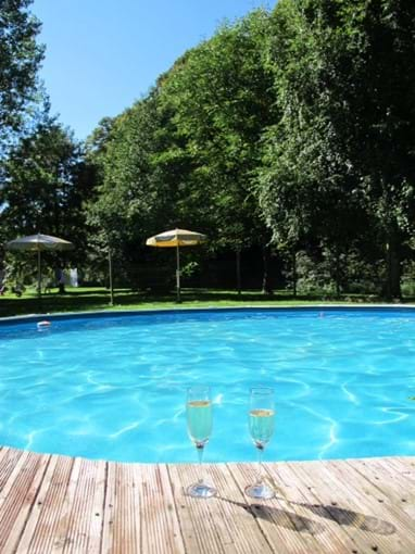 A sparkling pool with a sparkling drink!