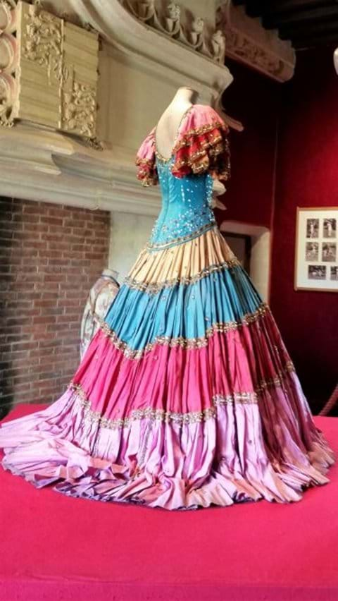Layered spanish style dress belonging to Josephine Baker dress in Chateau Milandes
