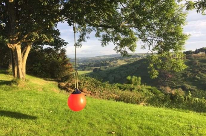 Garden swing overlooking the Roury valley