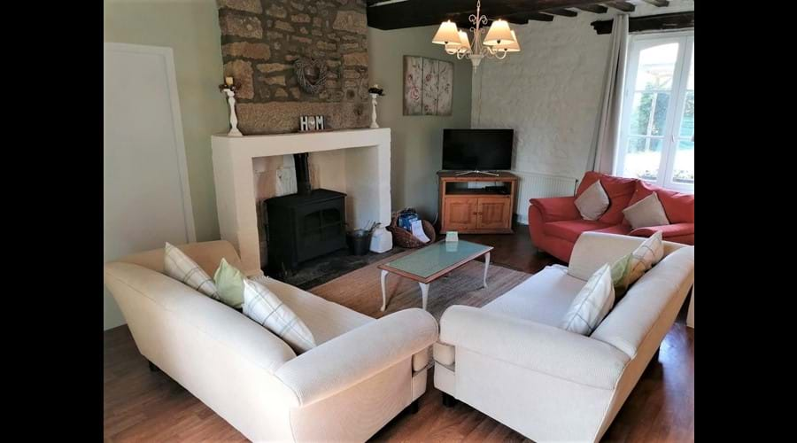 Farmhouse Living Room with wood burner
