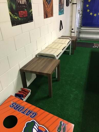 Players Bench with Side Tables