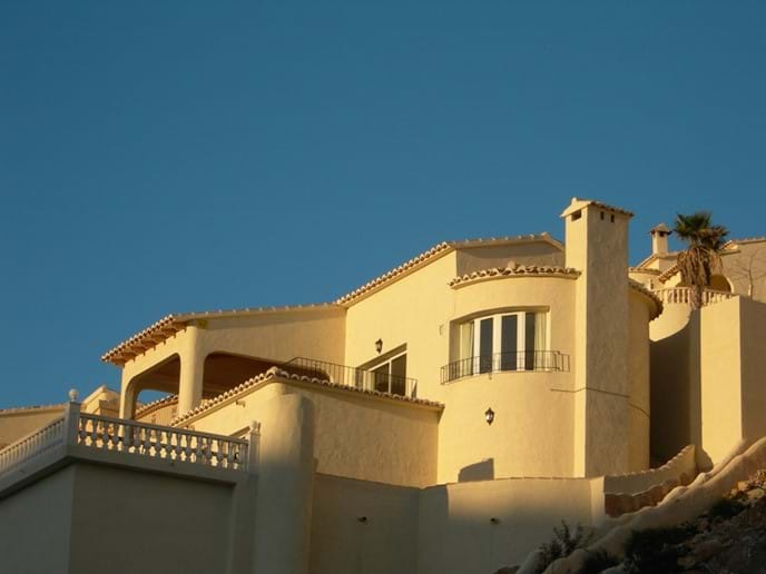 External view of the villa at sunset