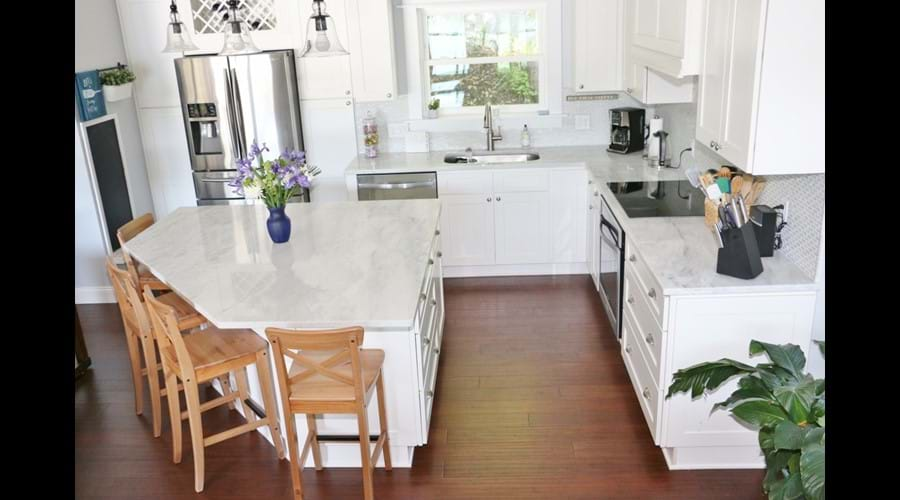 Very large granite top island for family cooking