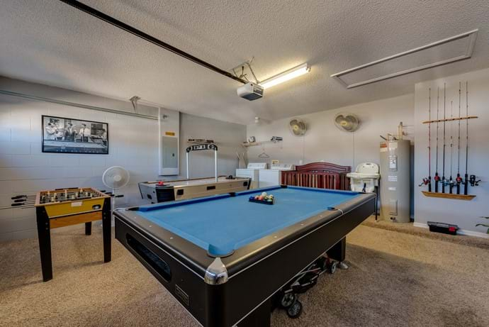 Games Room with Pool Table, Air Hockey, Foosball, Fishing and Tennis Equipment